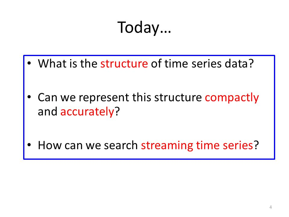 Today… What is the structure of time series data