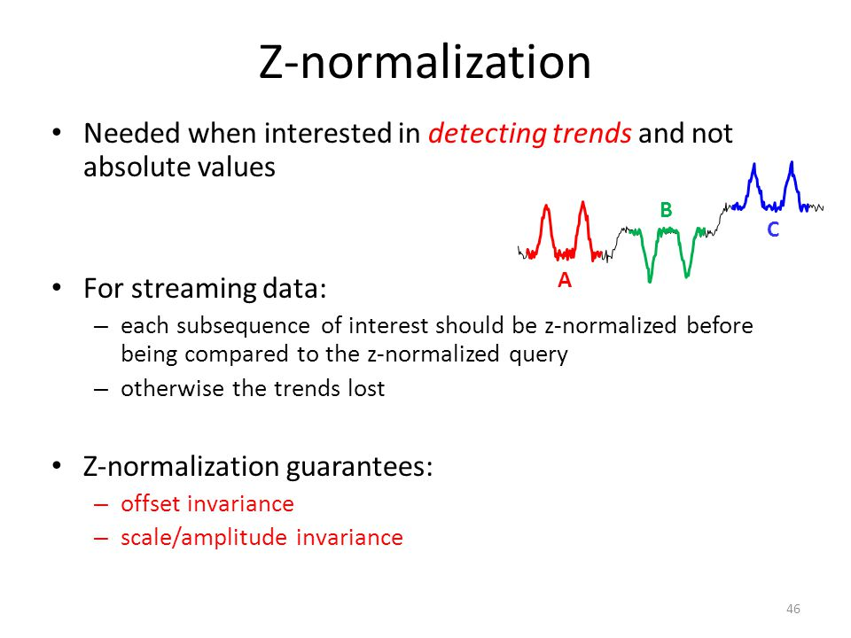 Z-normalization Needed when interested in detecting trends and not absolute values. For streaming data: