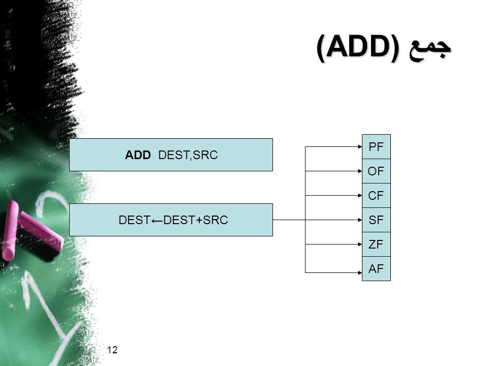 جمع (ADD) PF ADD DEST,SRC OF CF DEST←DEST+SRC SF ZF AF 12