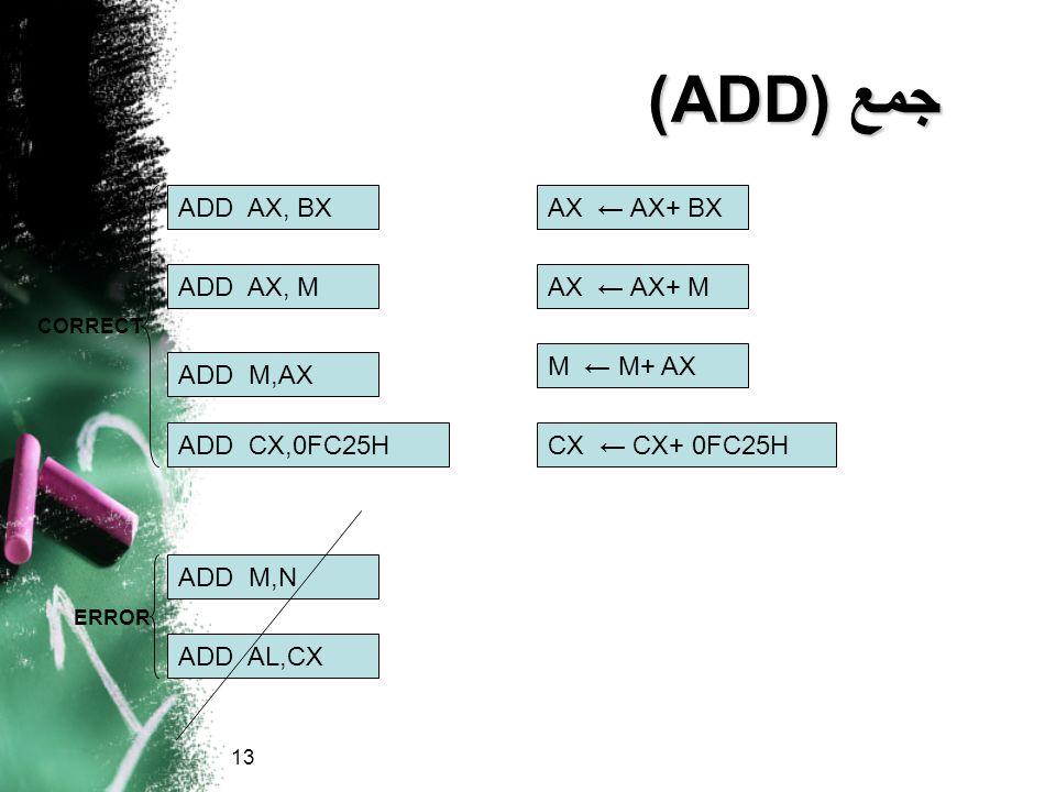 جمع (ADD) ADD AX, BX AX ← AX+ BX ADD AX, M AX ← AX+ M M ← M+ AX