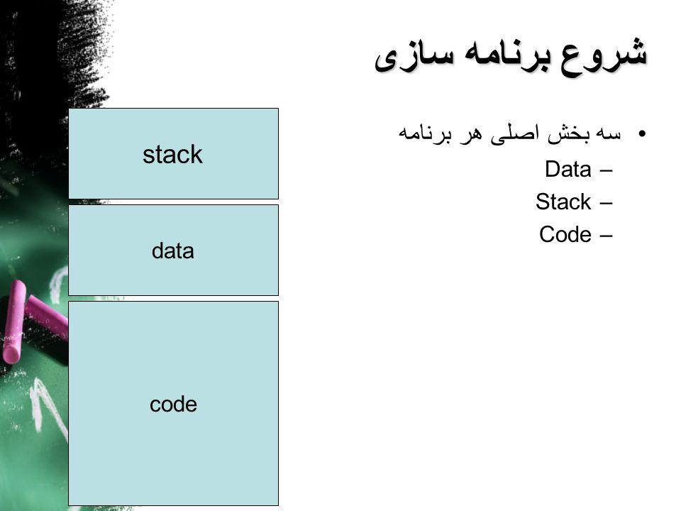 شروع برنامه سازی سه بخش اصلی هر برنامه stack Data Stack Code data code