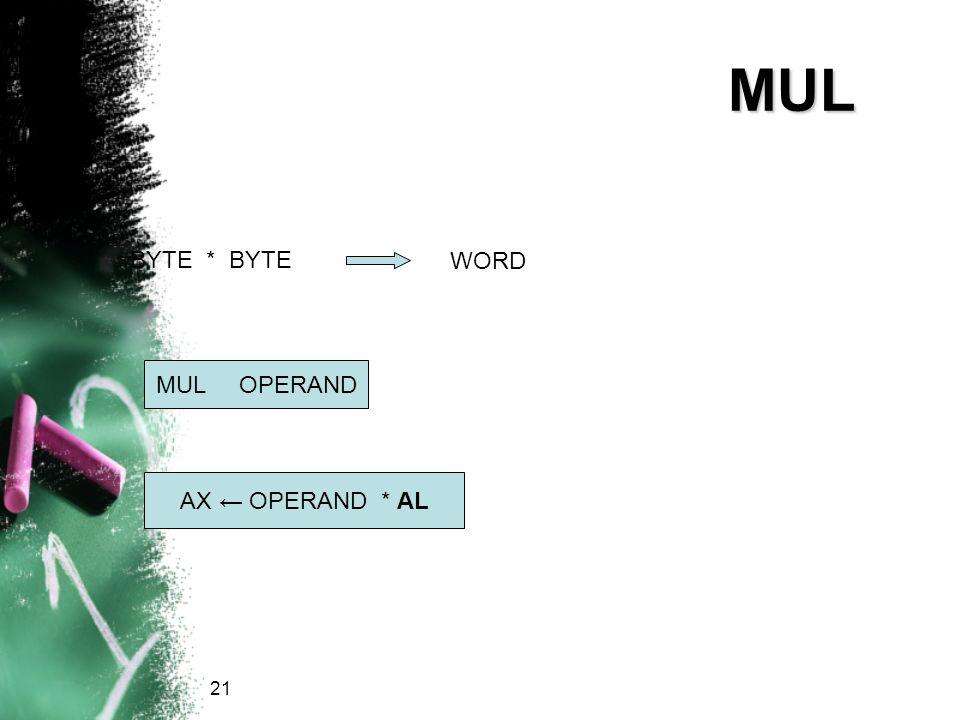 MUL BYTE * BYTE WORD MUL OPERAND AX ← OPERAND * AL 21