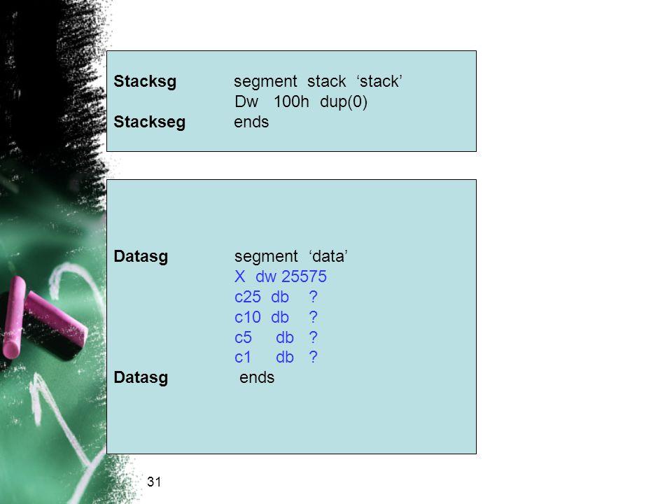 Stacksg segment stack 'stack' Dw 100h dup(0) Stackseg ends