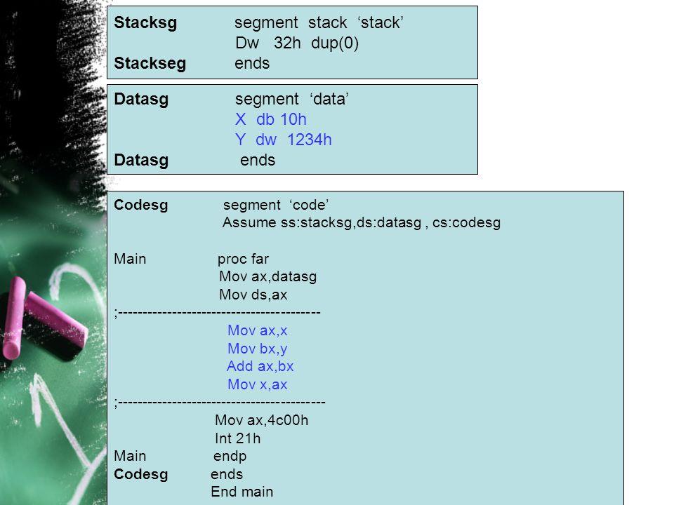 Stacksg segment stack 'stack' Dw 32h dup(0) Stackseg ends