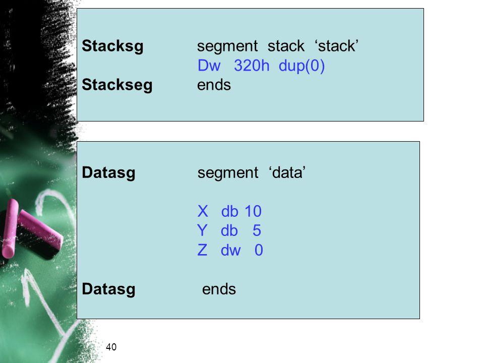 Stacksg segment stack 'stack' Dw 320h dup(0) Stackseg ends