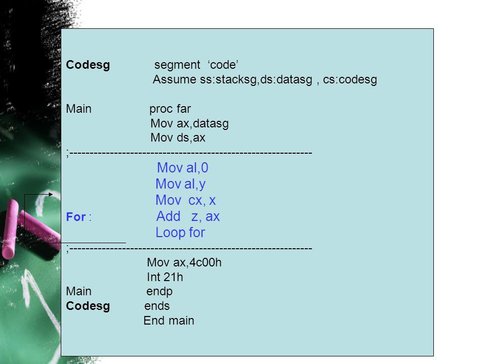 Mov al,y Mov cx, x Loop for Codesg segment 'code'