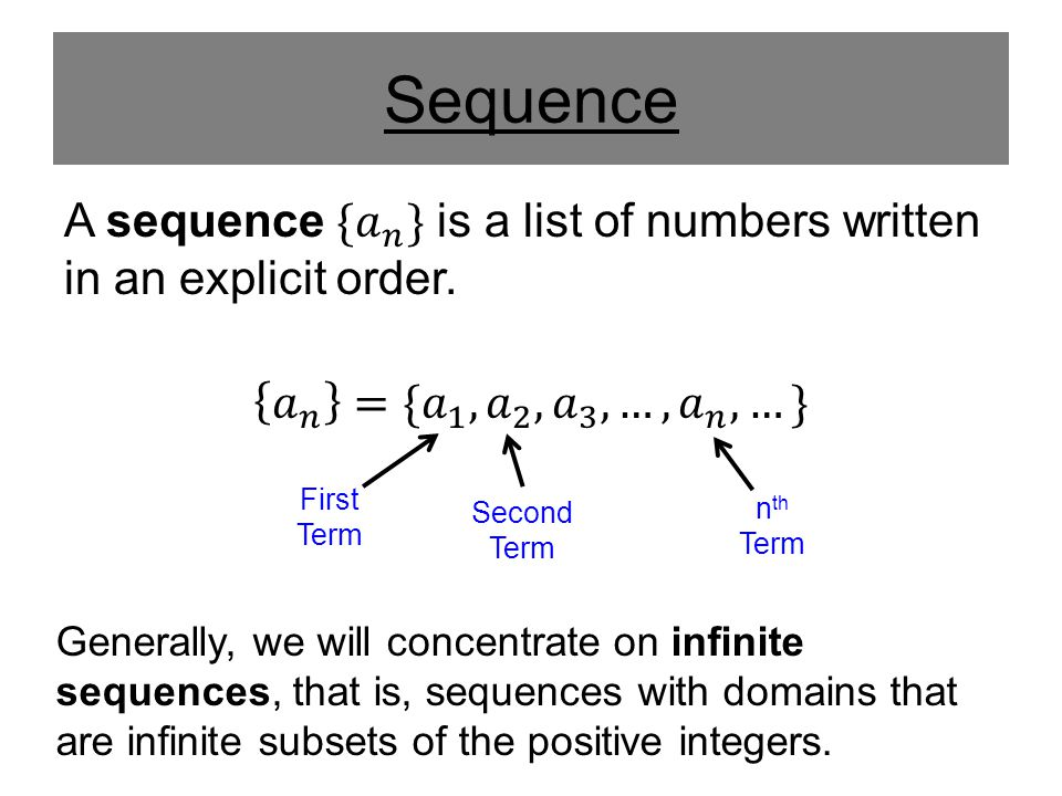 Sequence A sequence { 𝑎 𝑛 } is a list of numbers written in an explicit order. 𝑎 𝑛 ={ 𝑎 1 , 𝑎 2 , 𝑎 3 , …, 𝑎 𝑛 ,…}