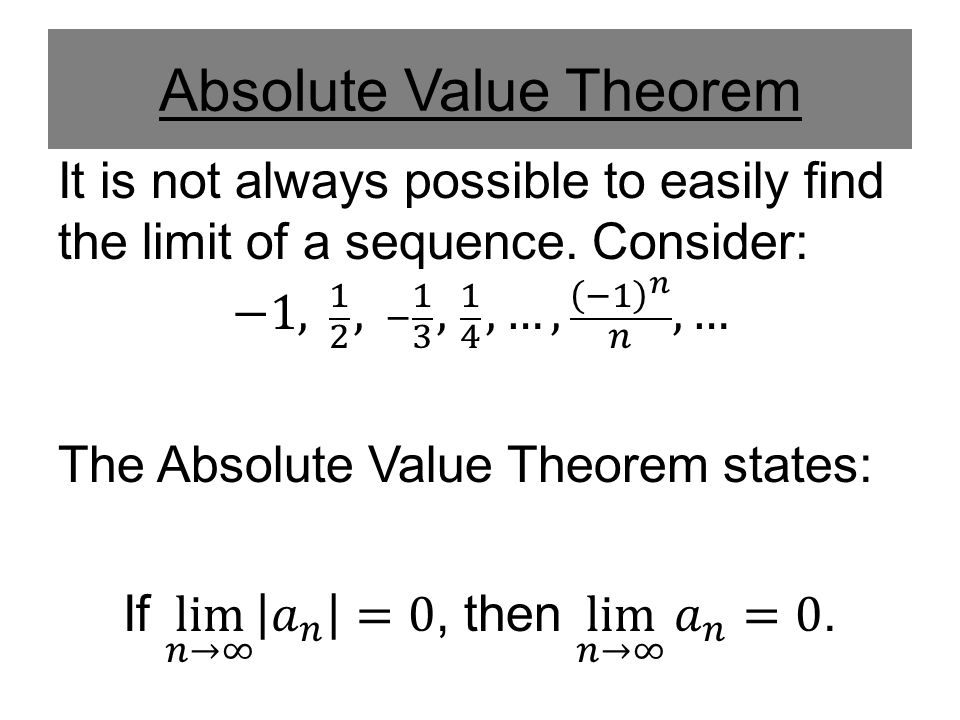 Absolute Value Theorem