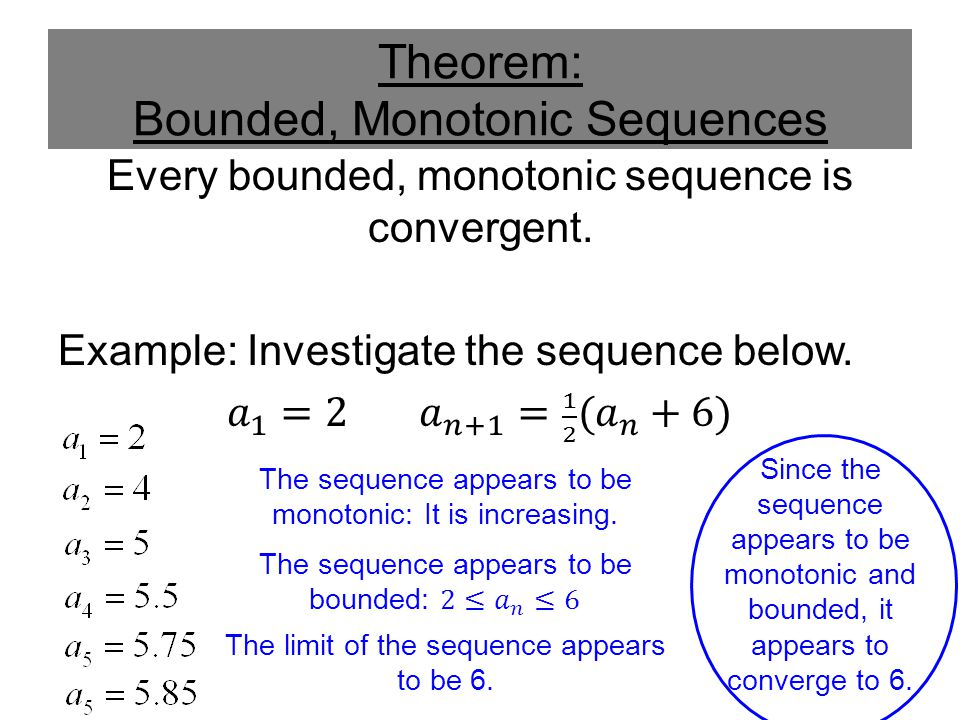Theorem: Bounded, Monotonic Sequences