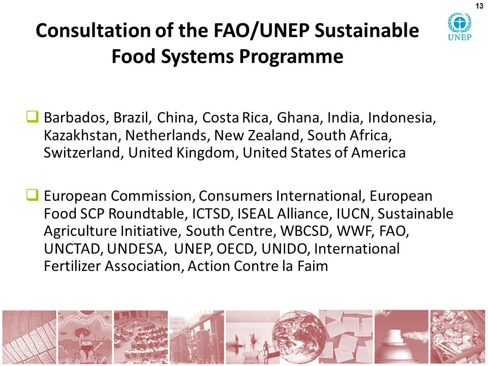 Consultation of the FAO/UNEP Sustainable Food Systems Programme