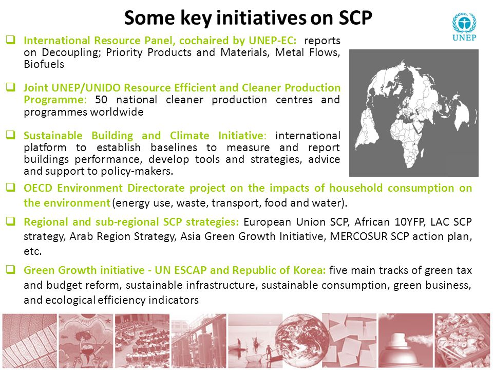 Some key initiatives on SCP