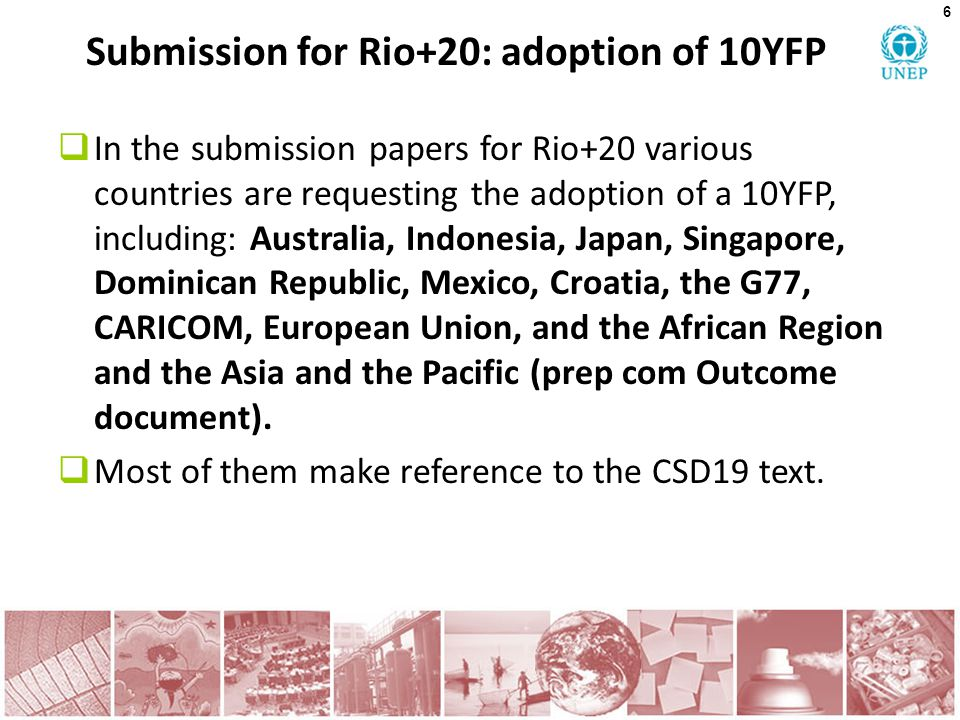 Submission for Rio+20: adoption of 10YFP