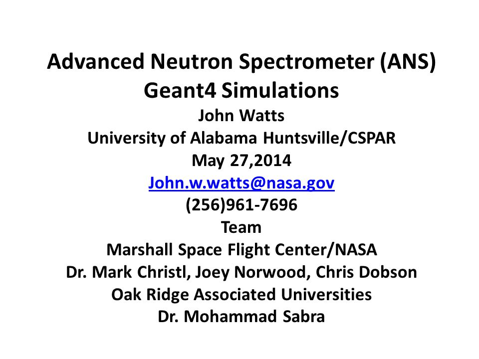 Advanced Neutron Spectrometer (ANS) Geant4 Simulations