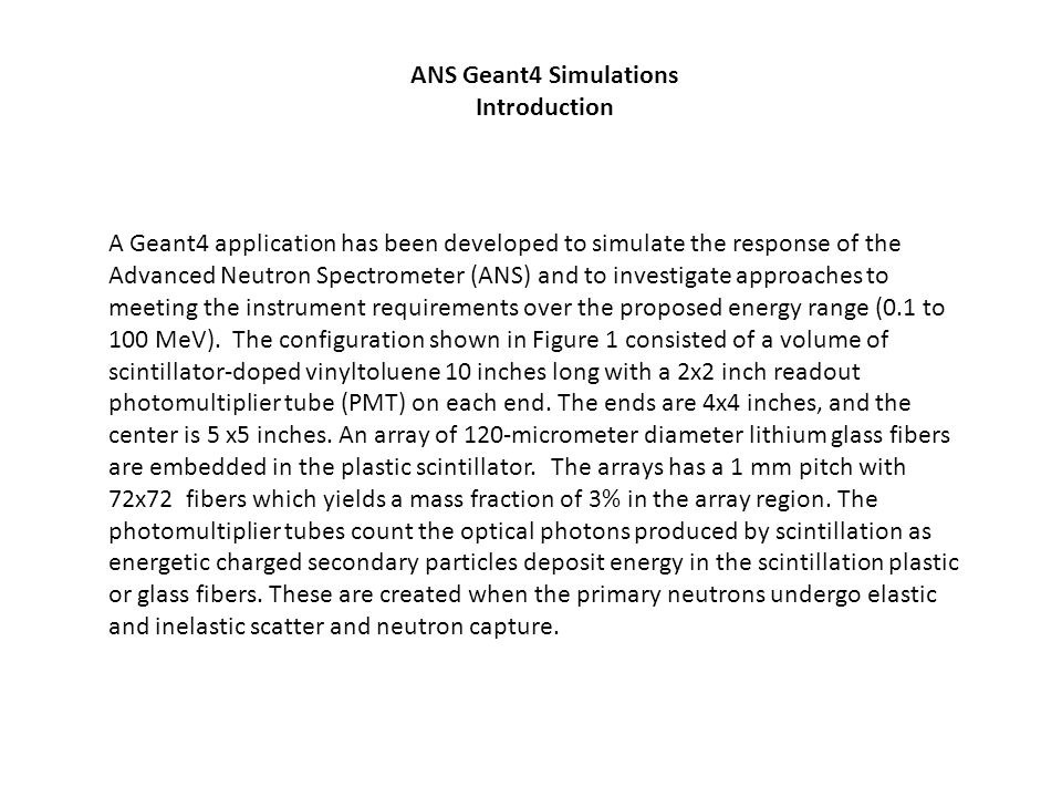 ANS Geant4 Simulations Introduction.