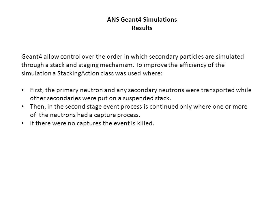 ANS Geant4 Simulations Results.