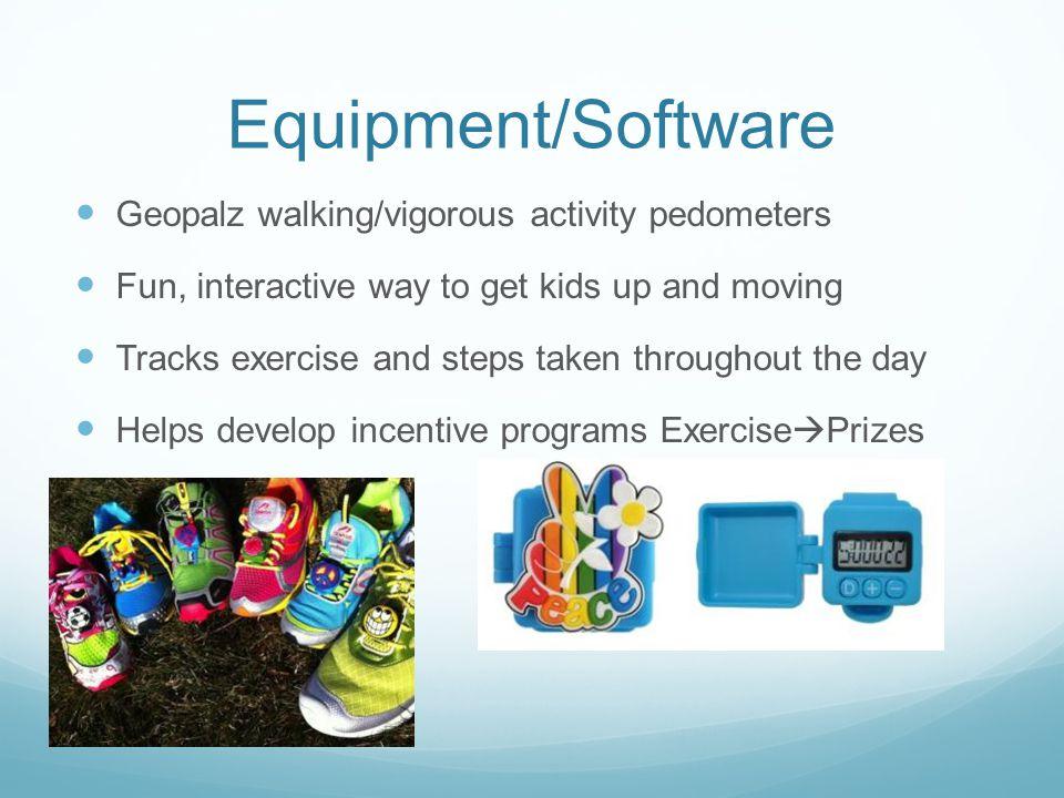 Equipment/Software Geopalz walking/vigorous activity pedometers