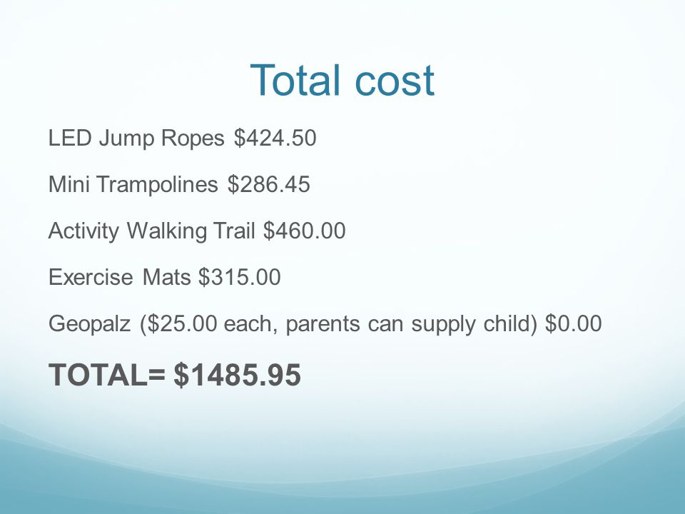 Total cost TOTAL= $1485.95 LED Jump Ropes $424.50