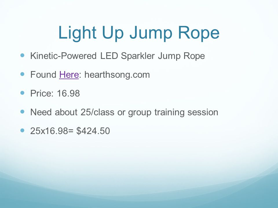 Light Up Jump Rope Kinetic-Powered LED Sparkler Jump Rope