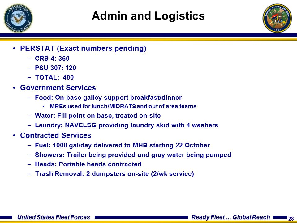 Admin and Logistics PERSTAT (Exact numbers pending)