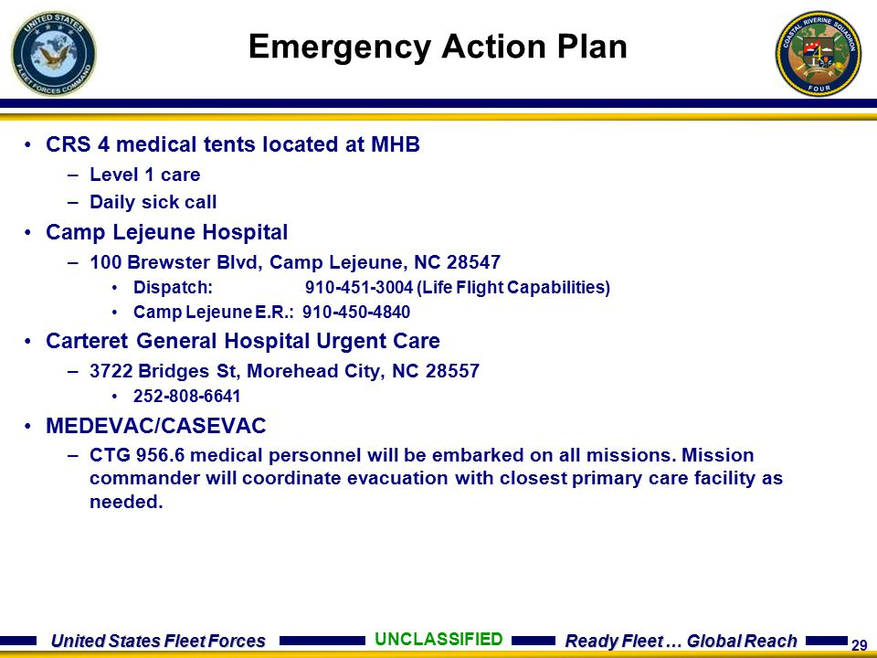 Emergency Action Plan CRS 4 medical tents located at MHB