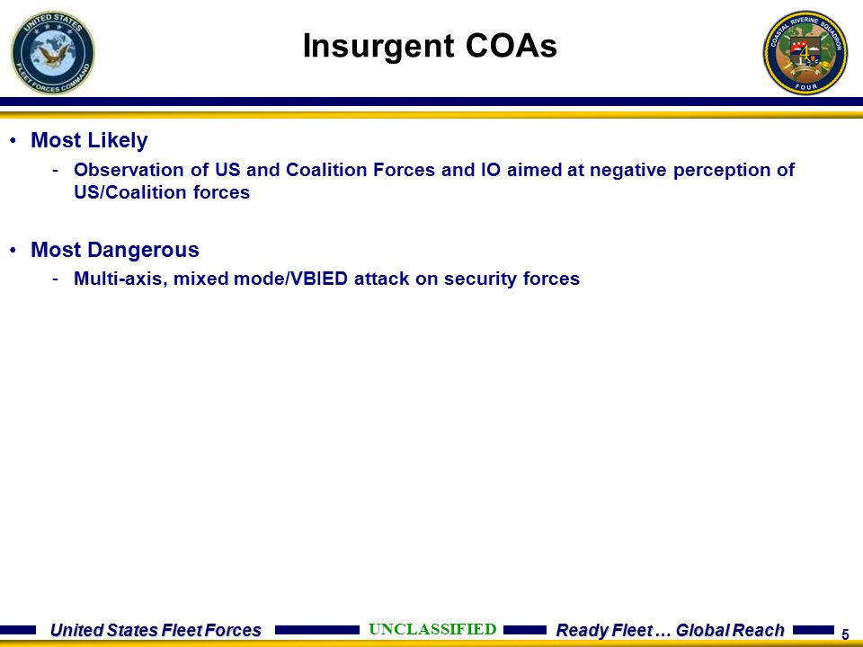 Insurgent COAs Most Likely Most Dangerous