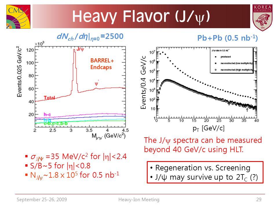 Heavy Flavor (J/y) dNch /dη|η=0 =2500 Pb+Pb (0.5 nb-1)