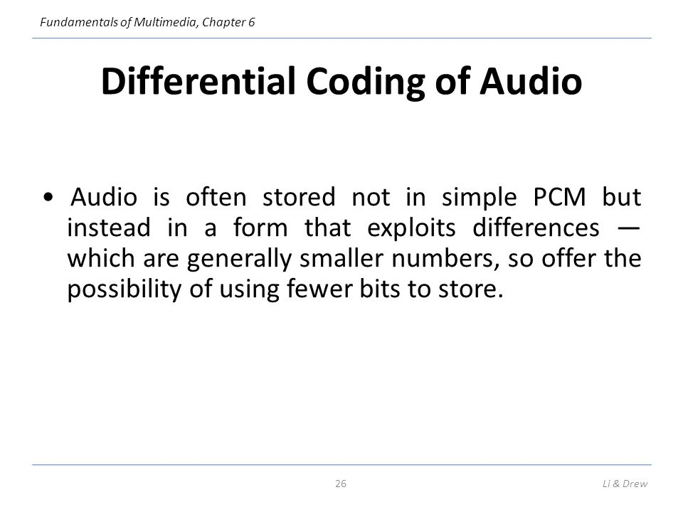 Differential Coding of Audio