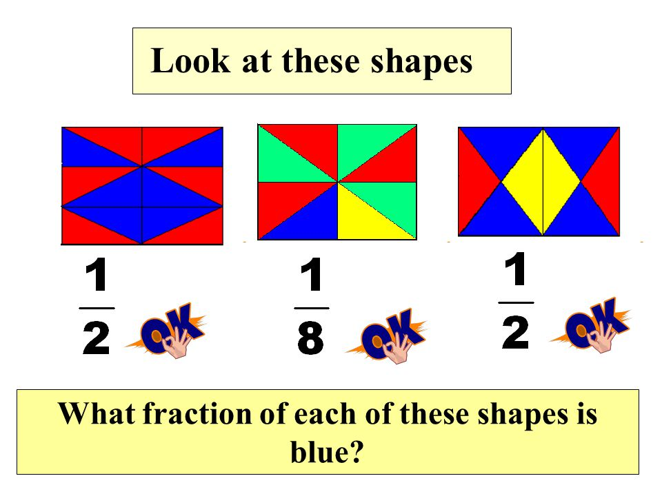 Look at these shapes What fraction of each of these shapes is blue