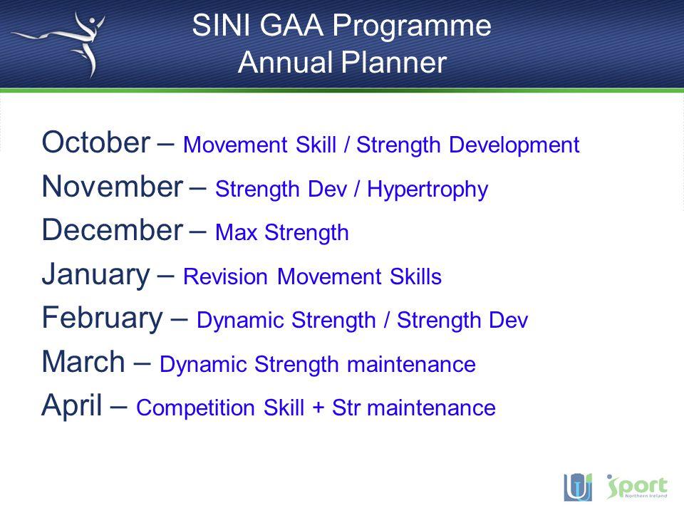 SINI GAA Programme Annual Planner