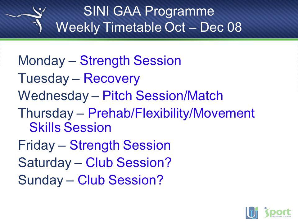 SINI GAA Programme Weekly Timetable Oct – Dec 08