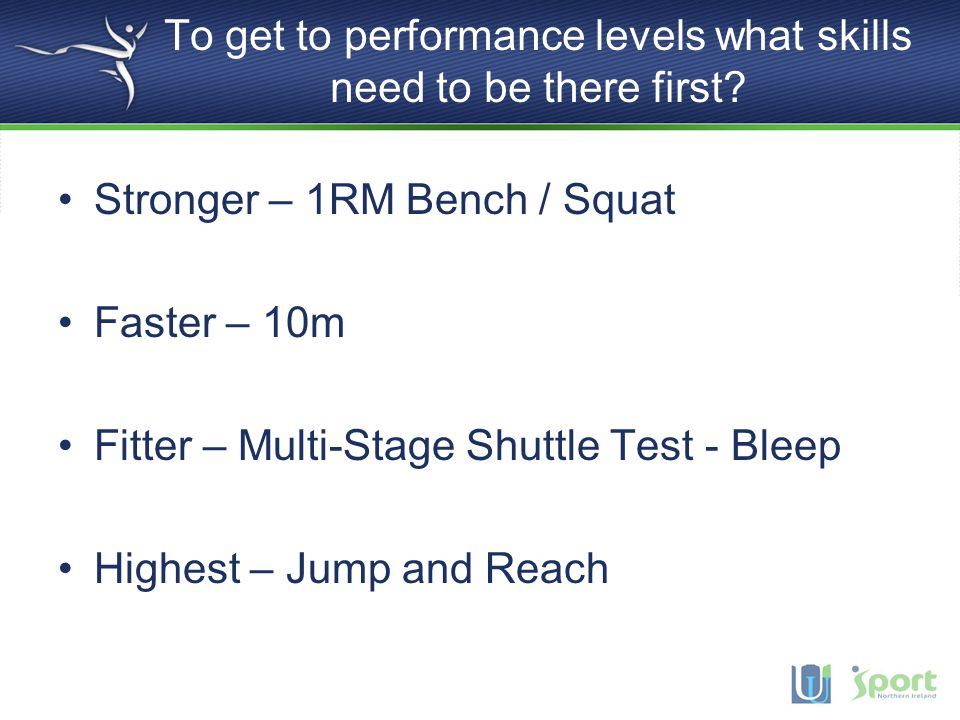 To get to performance levels what skills need to be there first
