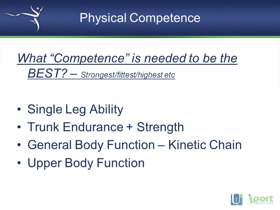 Physical Competence What Competence is needed to be the BEST – Strongest/fittest/highest etc. Single Leg Ability.