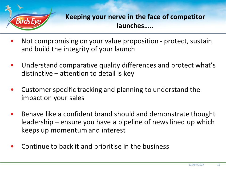 Keeping your nerve in the face of competitor launches…..