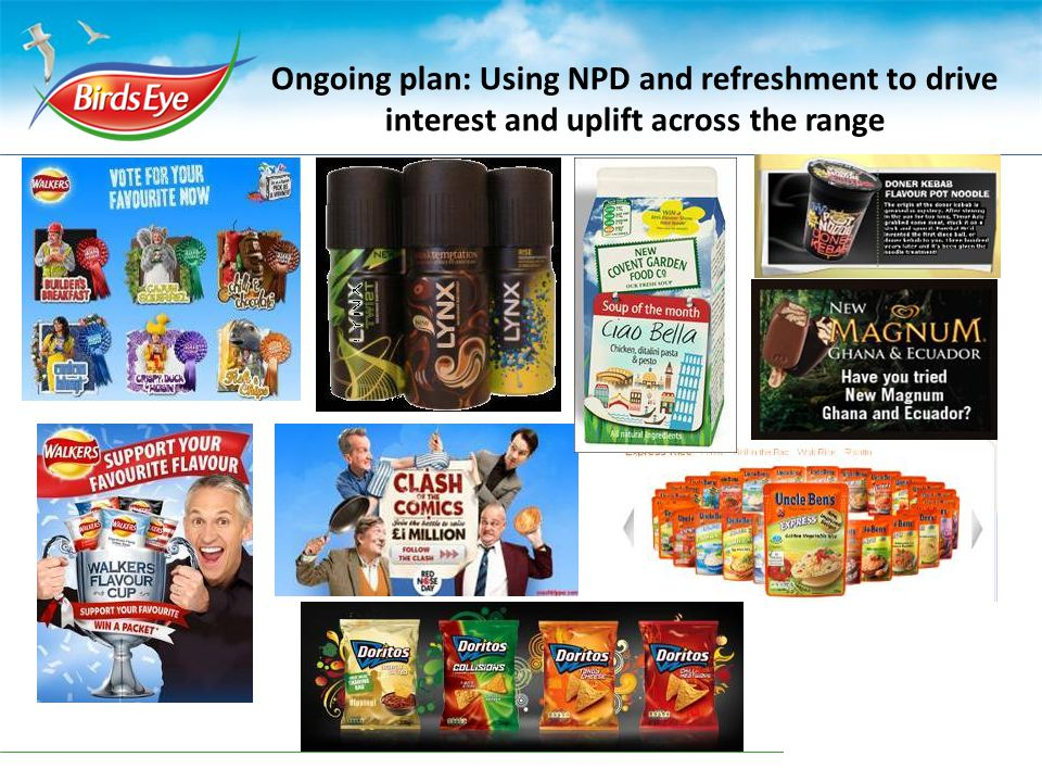 Ongoing plan: Using NPD and refreshment to drive interest and uplift across the range