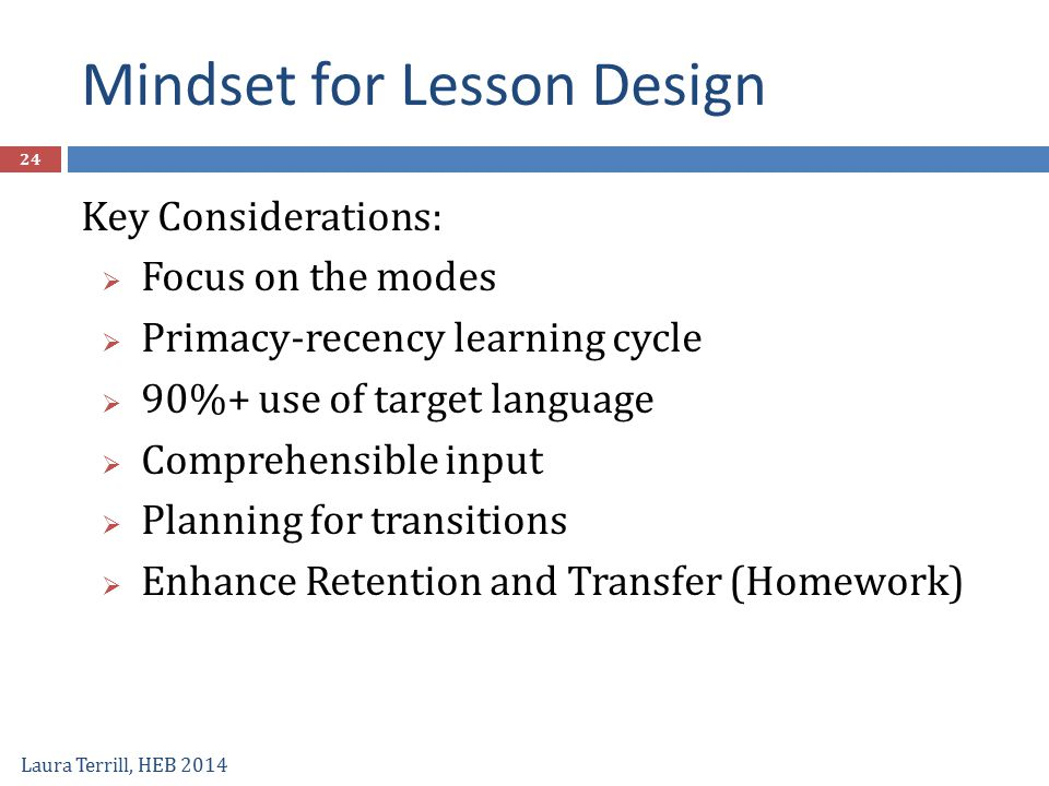 Mindset for Lesson Design