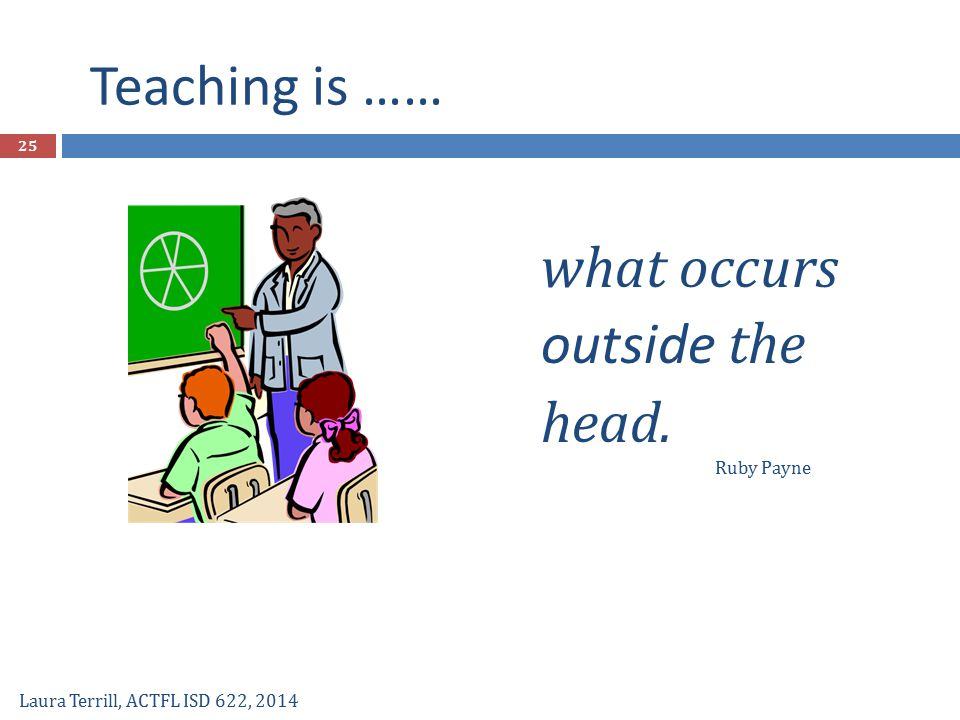 Teaching is …… what occurs outside the head. Ruby Payne