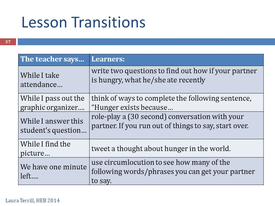 Lesson Transitions The teacher says… Learners: