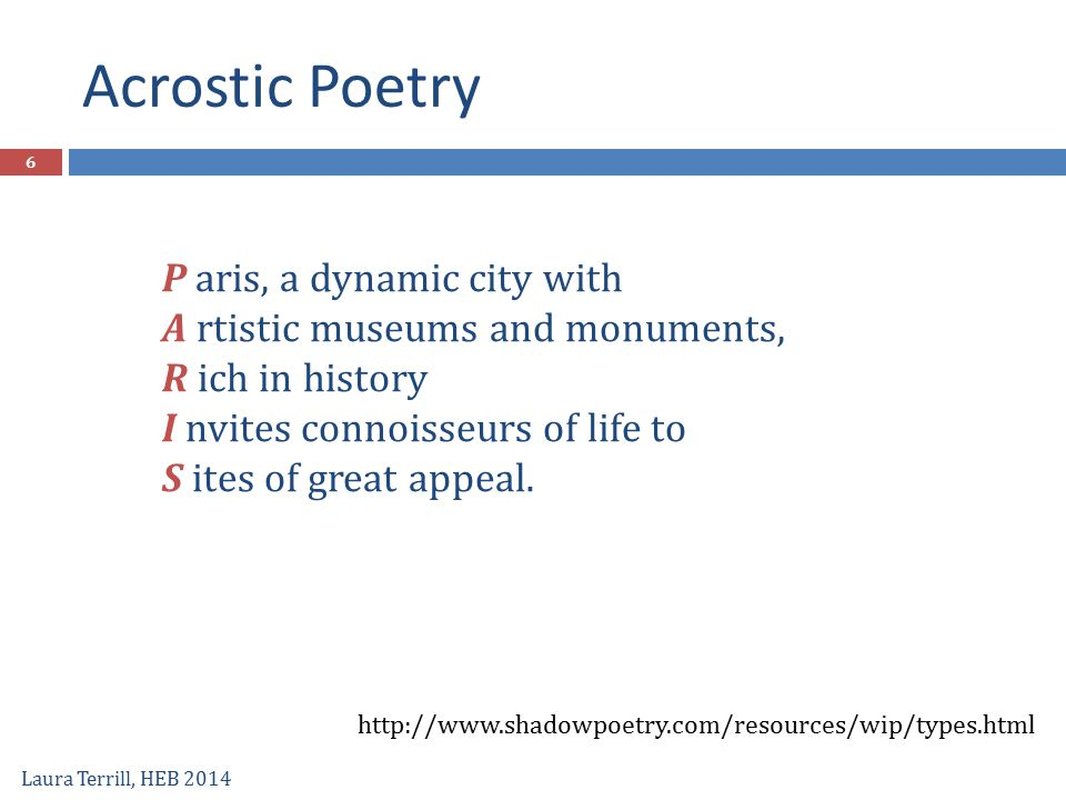 Acrostic Poetry P aris, a dynamic city with