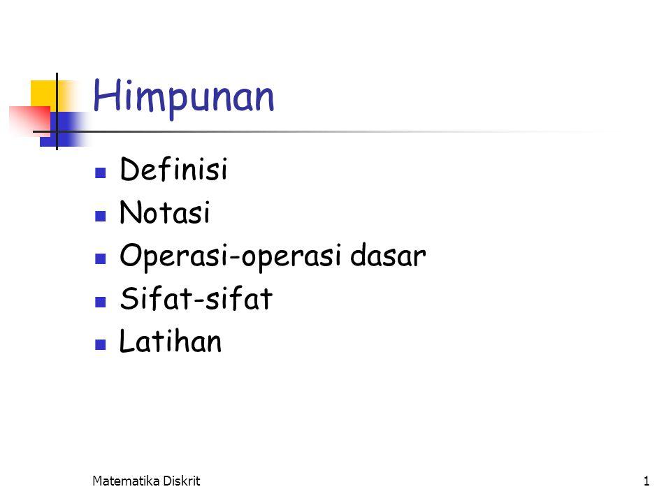 Definisi Himpunan : Dengan kata lain : Elemen dari himpunan :