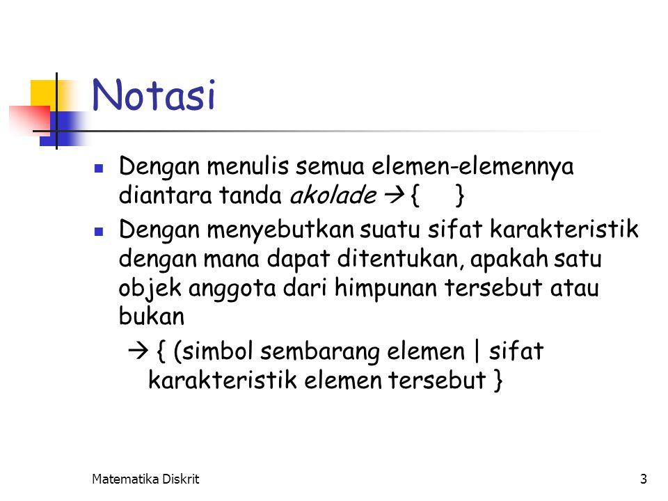Notasi {x1, …, xn} : himpunan yang terdiri dari unsur x1, …, xn
