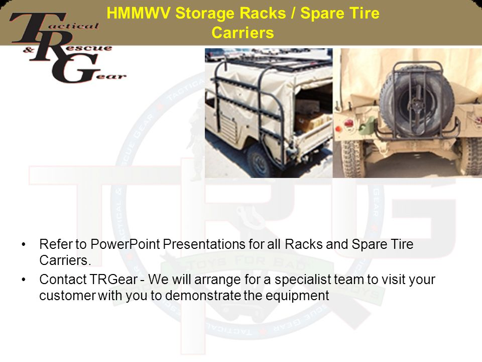 HMMWV Storage Racks / Spare Tire Carriers