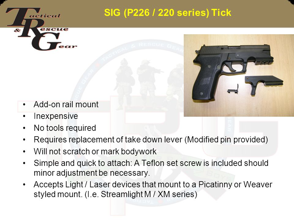 SIG (P226 / 220 series) Tick Add-on rail mount Inexpensive