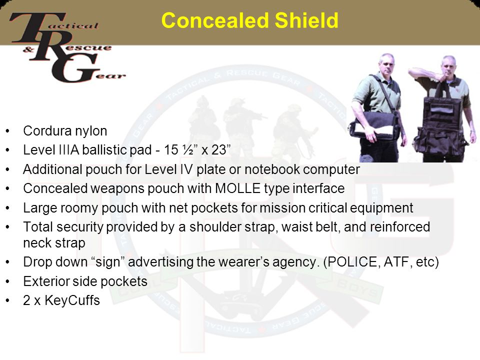 Concealed Shield Cordura nylon Level IIIA ballistic pad - 15 ½ x 23