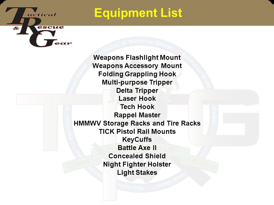 Equipment List Weapons Flashlight Mount Weapons Accessory Mount