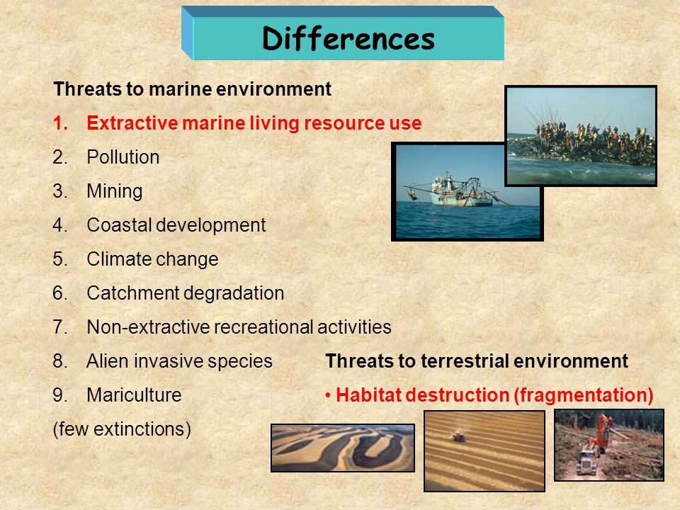 Differences Threats to marine environment