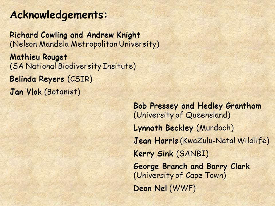 Acknowledgements: Richard Cowling and Andrew Knight