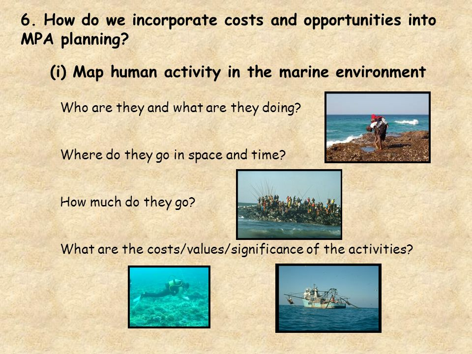 (i) Map human activity in the marine environment