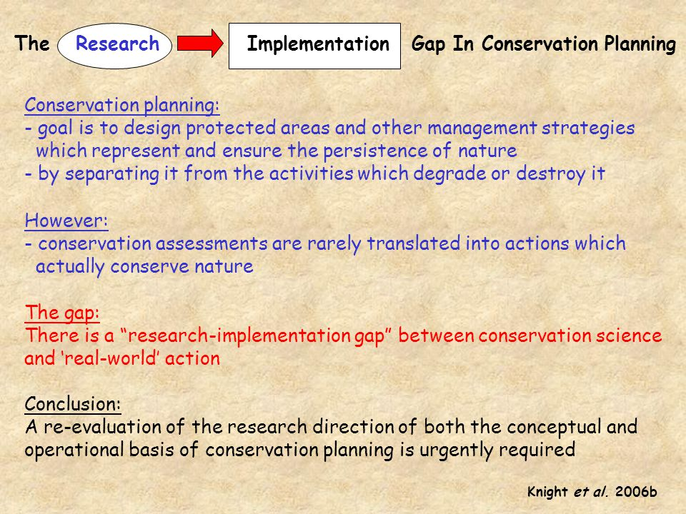The Gap In Conservation Planning Implementation Research