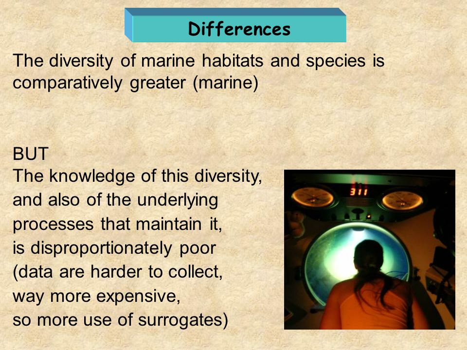 Differences The diversity of marine habitats and species is comparatively greater (marine) BUT. The knowledge of this diversity,