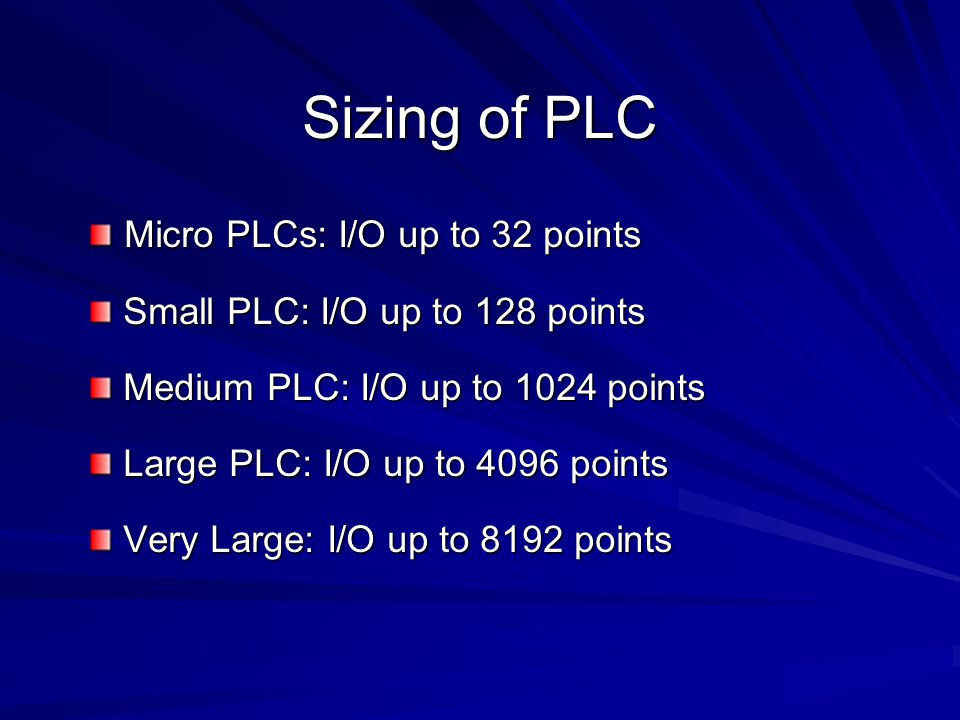 Sizing of PLC Micro PLCs: I/O up to 32 points
